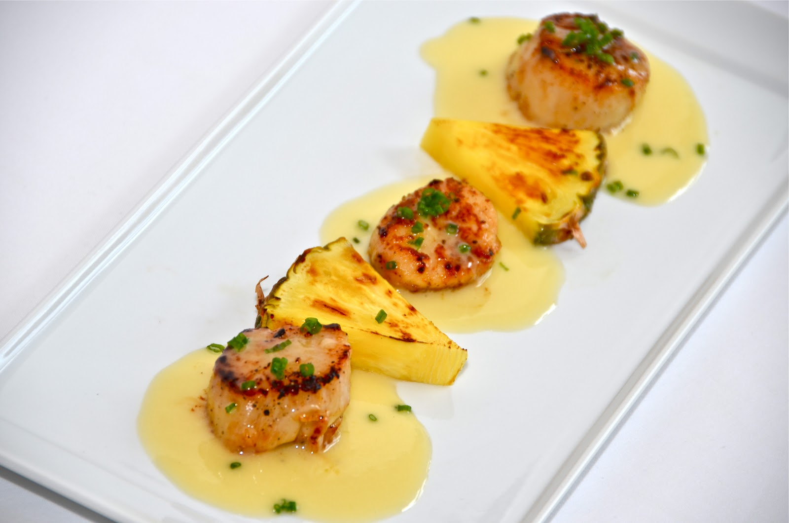 Seared scallops with pineapple beurre blanc sauce delights of