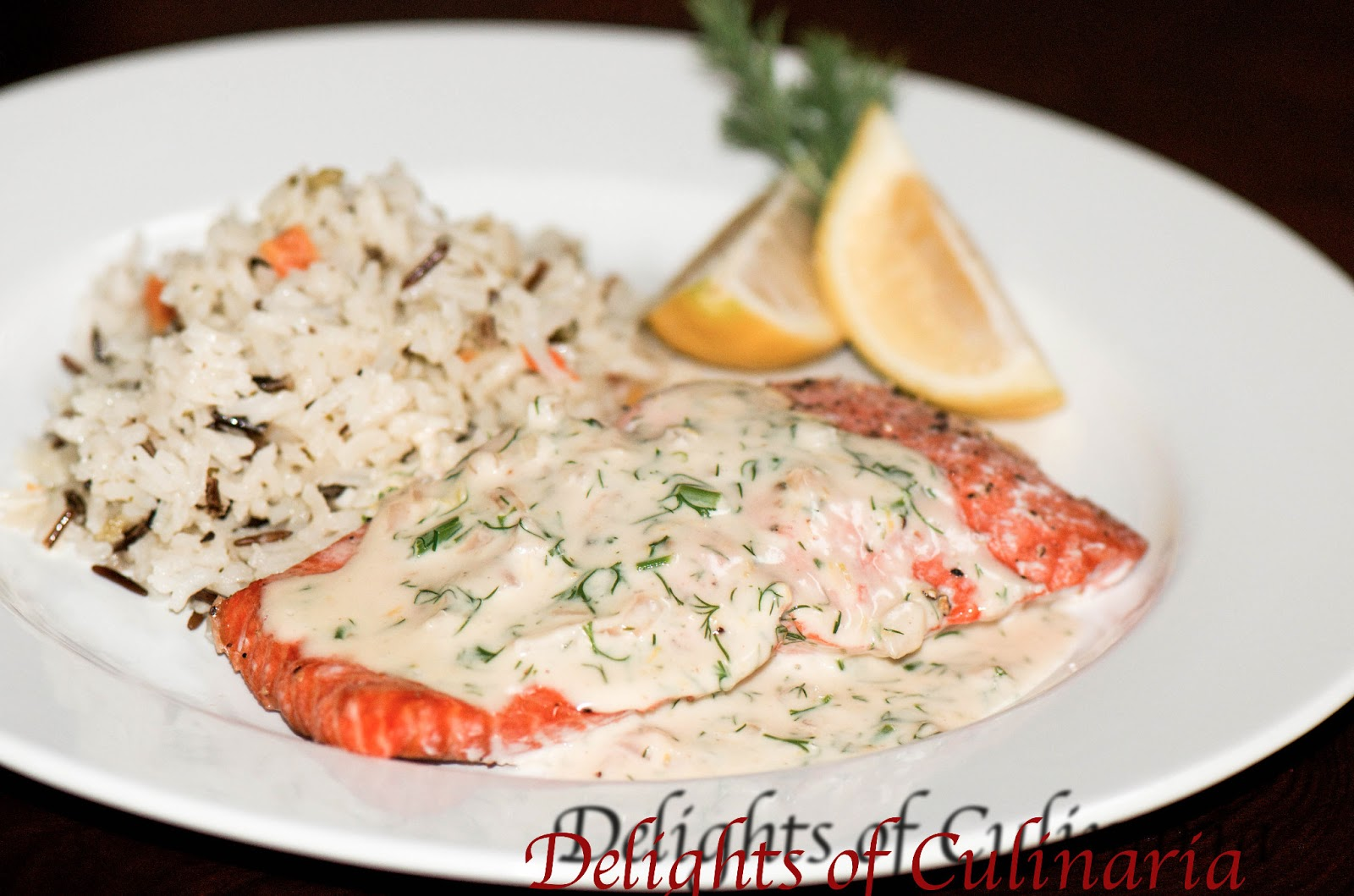 Salmon with Creamy Dill Sauce - Delights Of Culinaria